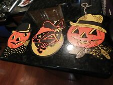 3 Vintage Cardboard Halloween Cutouts 1950s Black Orange Yellow H E Luhr