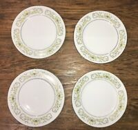 STERLING FLORENTINE LOT OF 4 FLORAL BREAD & BUTTER PLATES JAPAN VTG VGUC