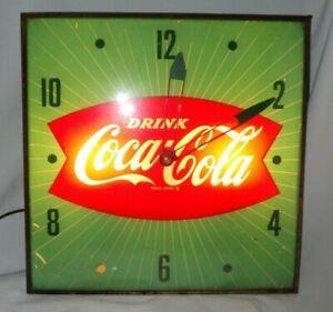 1950's Vintage Coca-Cola Clock Fishtail logo Green w/ White Stripes - Pam Clock