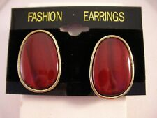 Fine Fashion Gold Large Stud Clip On Earrings Metal Oval Wood Insert Brown