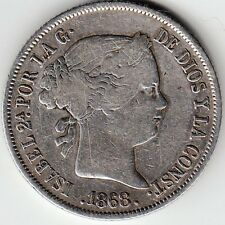 SPAIN / 40 CENTS OF ESCUDO 1868 (68) 6 POINTED STAR ISABEL II  KM#628.2