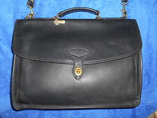 JACK GEORGES THICK BLACK  LEATHER LARGE BRIEFCASE BAG USA
