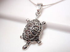 Turtle with Beautiful Shell Pendant 925 Sterling Silver Corona Sun Jewelry