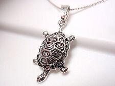 Turtle with Beautiful Shell Pendant 925 Sterling Silver Corona Sun Jewelry