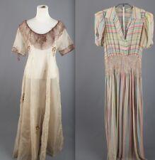 VTG 30s Lot of 2 As-Is Women's Dresses Silk Chiffon Rayon Striped Print 1930s