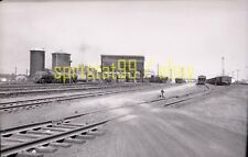 Steam Locomotives and Tankers in Rail Yard - Vintage Railroad Negative