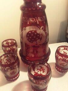 Bohemian Egermann Ruby Red Glass Decanter & 4 Shot Glasses