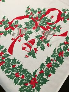 Vintage Christmas Cotton Tablecloth 58 X 52 BELLS HOLLY RIBBON