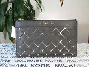 NWT Michael Kors Leather or PVC Violet Large Perofoated Zip Clutch Wristlet