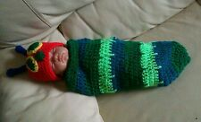 Crochet a very hungry caterpillar hat and cocoon newborn 0-3 set photo props