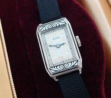 Ladies' Antique Vintage 14k Gold & Enamel Elgin Cocktail Watch w/ Box -SERVICED