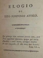 Memorie, Paolo Frisi: Elogio Tito Pomponio Attico 1780 Milano Conte Firmian