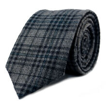 New Luxury Gentlemens Tartan Grey Skinny Country Tie -Tweed Woven Wool Style