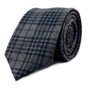 New Luxury Gentlemens Tartan Grey Skinny Country Tie -Tweed Woven Wool Style