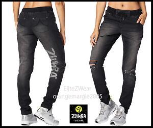 Zumba Black Distressed Denim Jogger Pants Danceable!! EliteZW-U.K.Convention M L