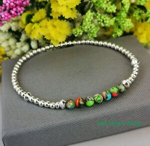 925 Sterling Silver stacking Bracelet Imperial Jasper Gemstone beaded stretch