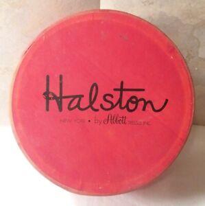 """Vintage Halston New York by Abbott  Hat/Wig Red Cardboard Box Round 7.5"""""""