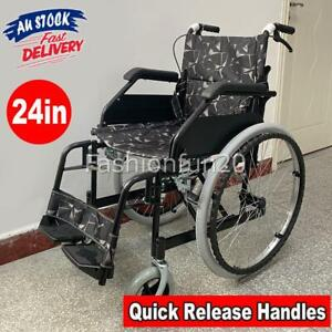 24 Inch Folding Wheelchair Foldable Manual Portable Wheel Chair with Dual Brakes