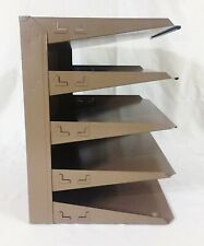 Vintage Sturdy Metal 5 Stack Desktop Office File Organizer Letter Tray Tan