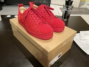 Sneakers Louboutin Louis Junior Spikes Flat Veau Velours Red 1180051 39Fr 6us