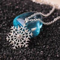 Luxury Silver Frozen Snowflake Crystal Necklace Pendant Chain Christmas Gift