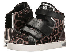 MICHAEL KORS Randi High Top Sneakers Leather Ankle Boots Animal Print Leopard 7