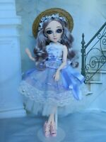 17 in Tall OOAK Art doll, BJD w/18 Posable Joints, Handpainted Blue Eyes, Barbie