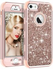 iPhone 5 5S Case Glitter Bling Shiny Heavy Duty Protection Hybrid Rubber Cover
