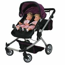 Babyboo Deluxe Twin Doll Pram/Stroller Purple & Black with Free Carriage