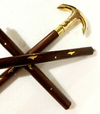 victorian vintage Cane antique Wooden Anchor Brass 3 fold Solid Stick Walking