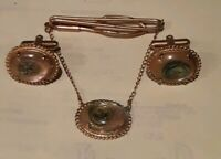 '60 Abalone Tiger Eye? OVAL Pendent 3 pcs Gold Clip Chain w Cufflinks Mens VTG