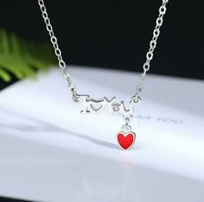 I Love You Red Heart Silver SP Pave CZ Pendant Chain Necklace