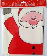 """3 Sacos De Santa Navidad Gigante De Plástico Pvc Aprox. tamaño 30x20"""" Bolsa De Regalo presenta"""