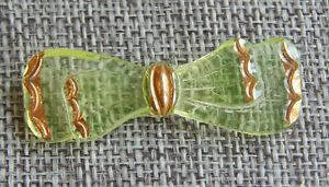 """Antique Vtg Vaseline Glass Button Realistic Bow  ~Aprx:1-7/8""""~#329-B"""