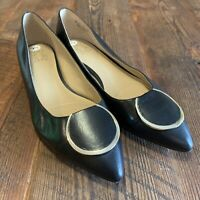 Naturalizer Stella Women's 9.5 W Leather Pointed Toe Leather Flats Black Career