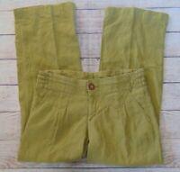 Athleta Women's Size 14T Green Moss Lagoon Linen Causal Beachy Wide Leg Pants