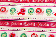 Children's pink and green lion print fabric, Fat Quarters Craft Quilting Cotton