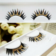 Crown Shape Black Gold Glitter Thick Stylish False Party Stage Eyelashes Lashes