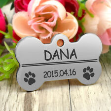 Military Army Bone Dog Tags Personalised Engraved Pet Puppy ID Name Collar Tags