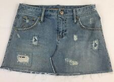 American Eagle Denim Mini Skirt Size 2 Women's Distressed Destroyed Blue Jean