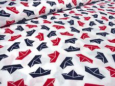 Stoff Baumwolle Popeline Schiffe Schiffchen weiß rot marine blau Kinderstoff