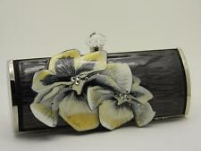 Debbie Brooks Long Clutch Black & White Flower Swarovski Crystals - Retail $189