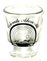 Colorado Above All Shot Glass With Mountains, Lake, Tree .