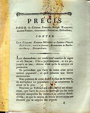 1802 Précis pour NARCON Besançon contre MÉRELLE RENTIER de Bucey Haute-Saône