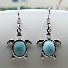 100 Sterling Silver 925 Natural LARIMAR GEMSTONE Butterfly Hook Dangle Earrings
