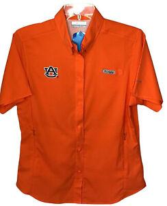 Auburn University Columbia Omni Shade small vented shirt orange spirit wear NEW
