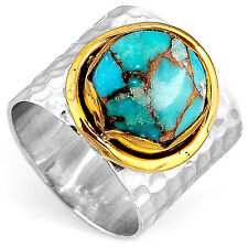 Solid 925 Sterling Silver Ring Turquoise Gem 2 Tone Wide Band Boho Magic Size