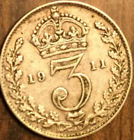 1911 UK GREAT BRITAIN SILVER THREEPENCE
