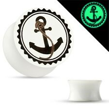 PAIR-Anchor Glow in the Dark Acrylic Double Flare Plugs 05mm/4 Gauge Body Jewelr