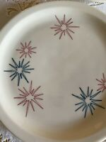 "VTG Walker China Restaurant Ware Pink & Blue Starburst Luncheon 9"" Plates"